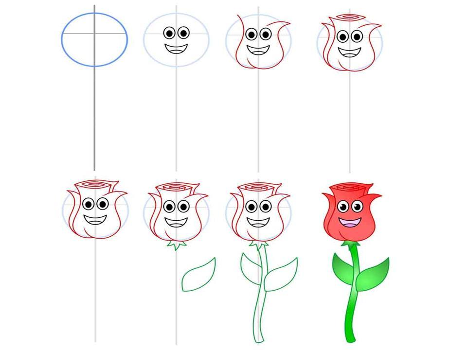 как нарисовать розу: