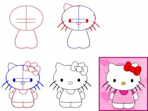 Как нарисовать котёнка Китти