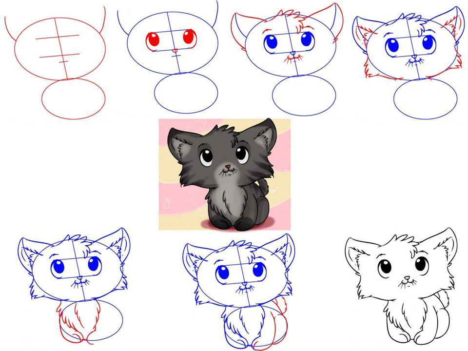 Как нарисовать пушистого котёнка