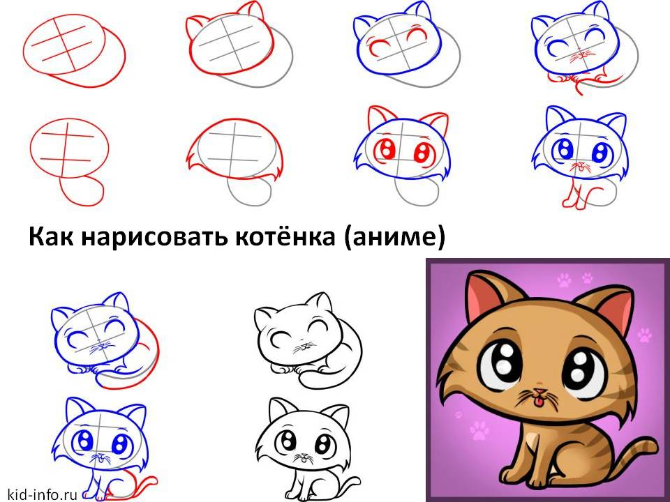 Как нарисовать котёнка аниме