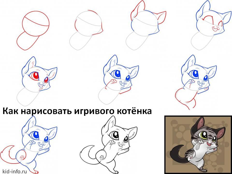 Как нарисовать игривого котёнка