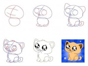 Как нарисовать мультяшного котёнка