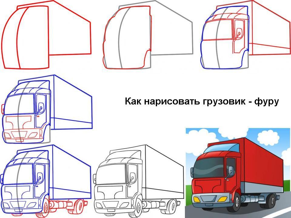 Как нарисовать грузовик - фуру