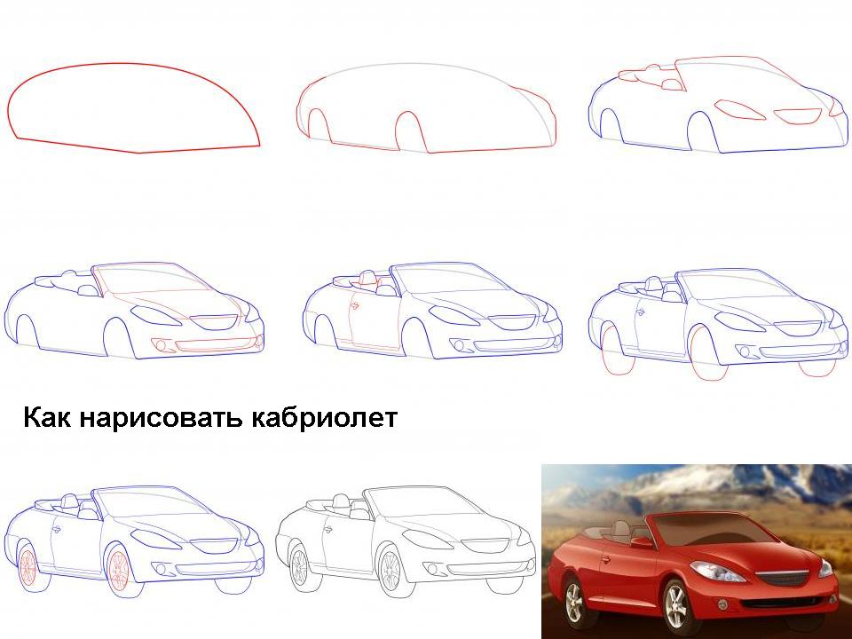 Как на рисовать машину смотреть