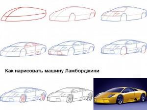 Как нарисовать машину Ламборджини