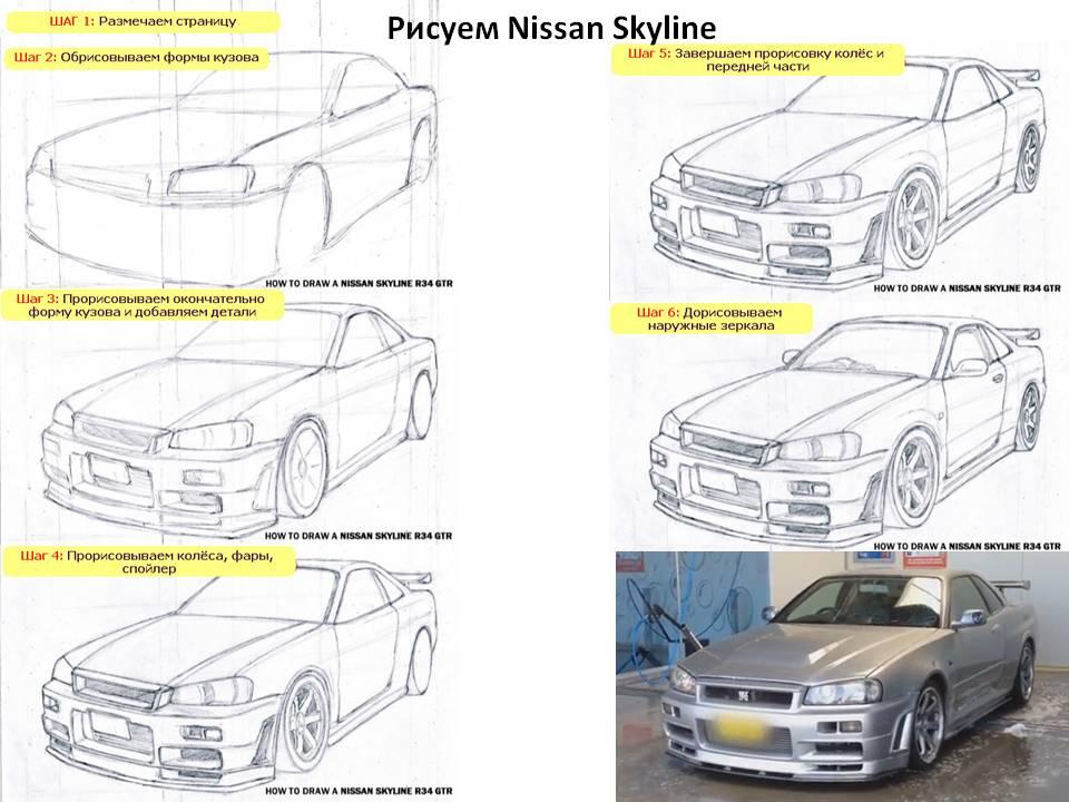 Как рисовать Ниссан Скайлайн