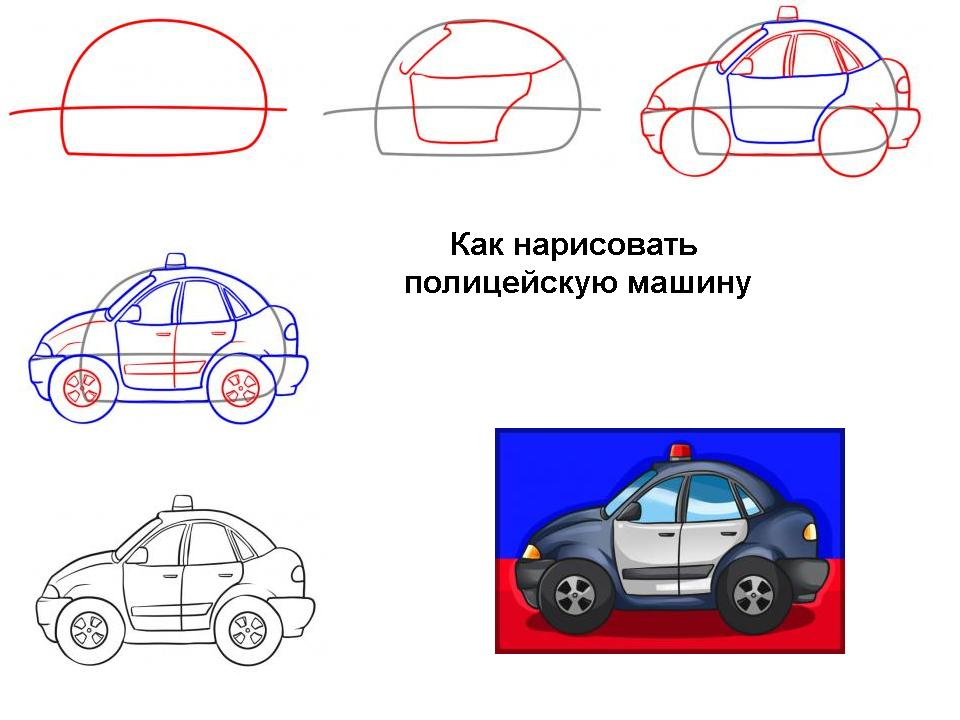 Как нарисовать полицейскую машину