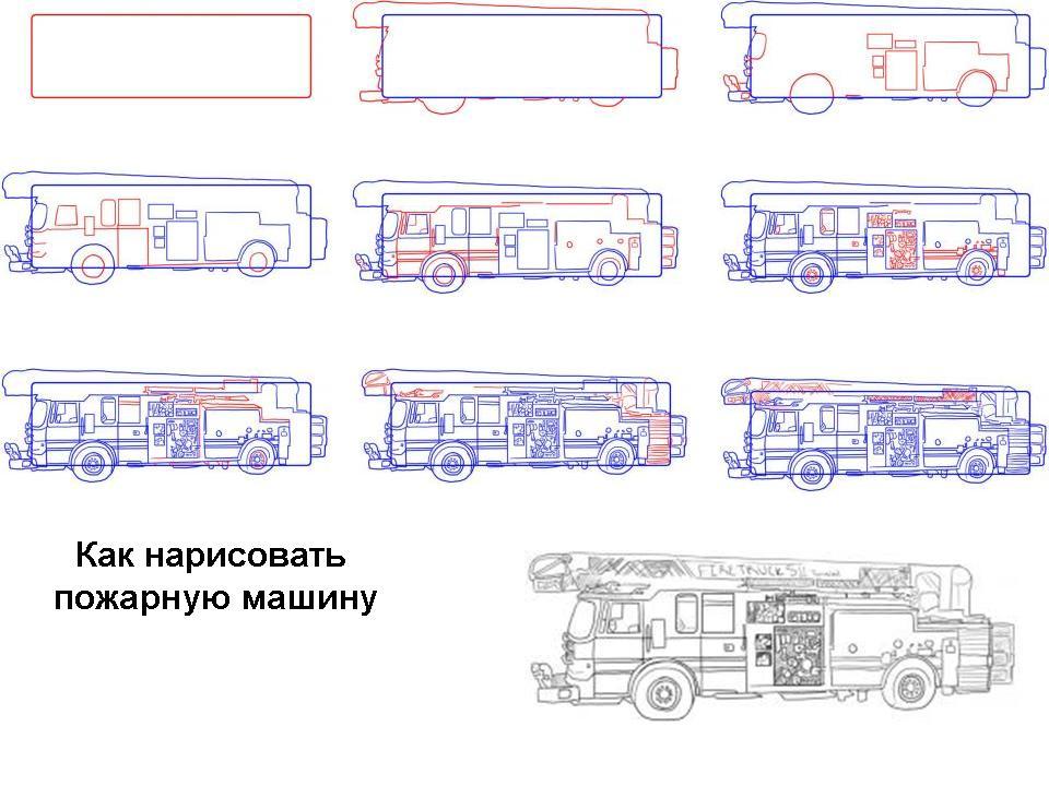 Как нарисовать пожарную машину