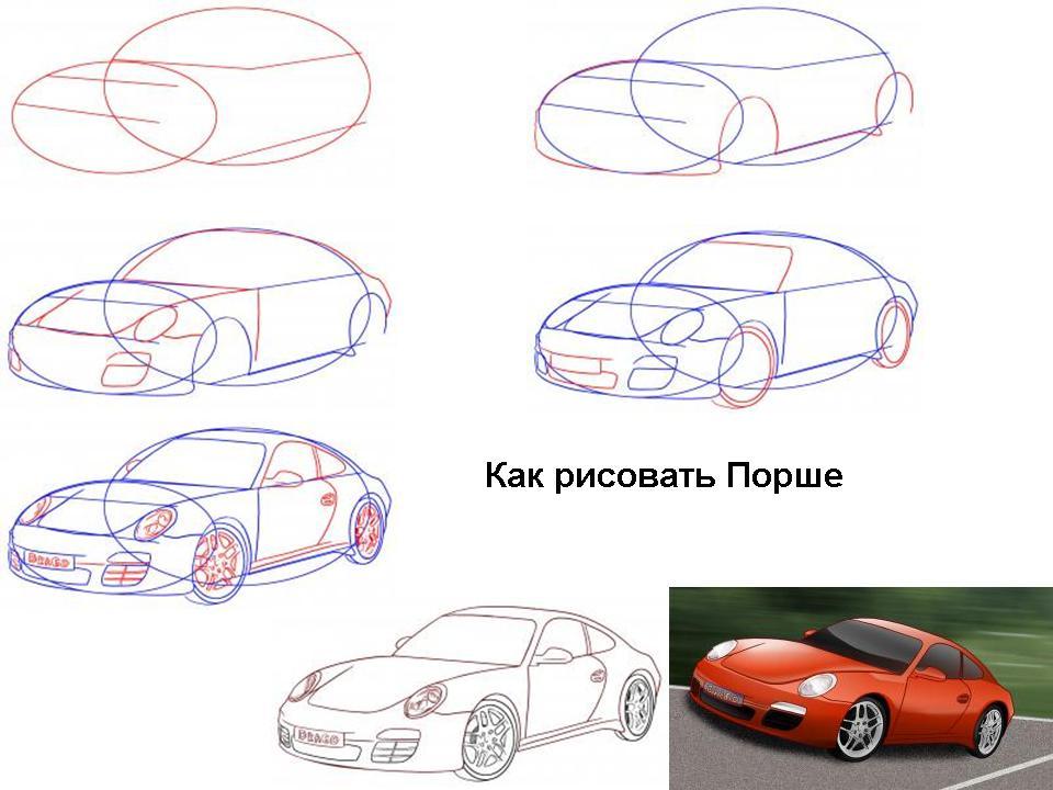 как поэтапно нарисовать машину porsche