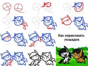 Как нарисовать лошадок