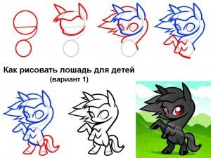 Как рисовать лошадь для детей (вариант 1)