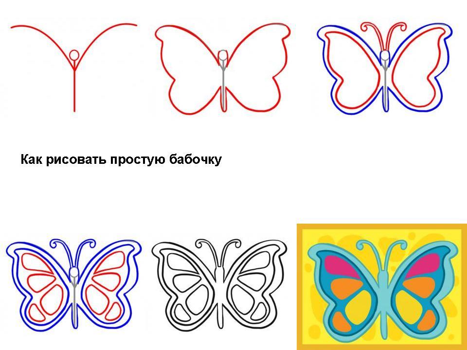 Нарисовать бабочку поэтапно карандашом для детей