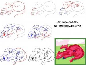 Как нарисовать детёныша дракона