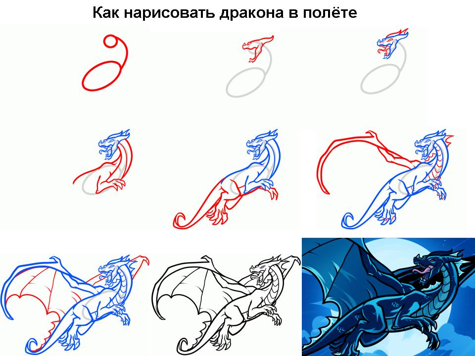 Дракон как рисовать карандашом поэтапно для