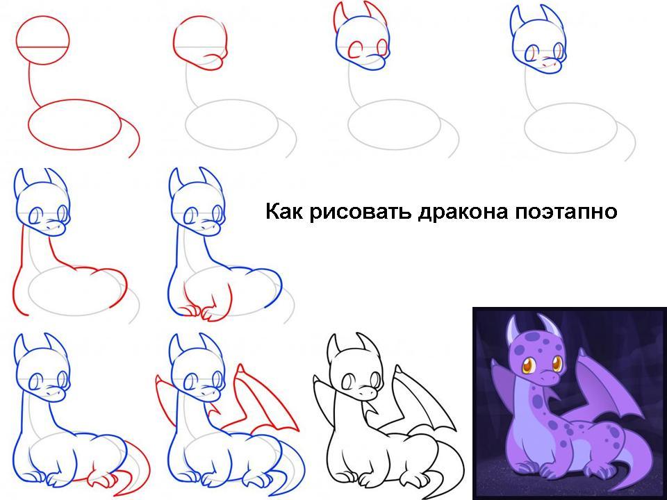 Как рисовать дракончиков поэтапно