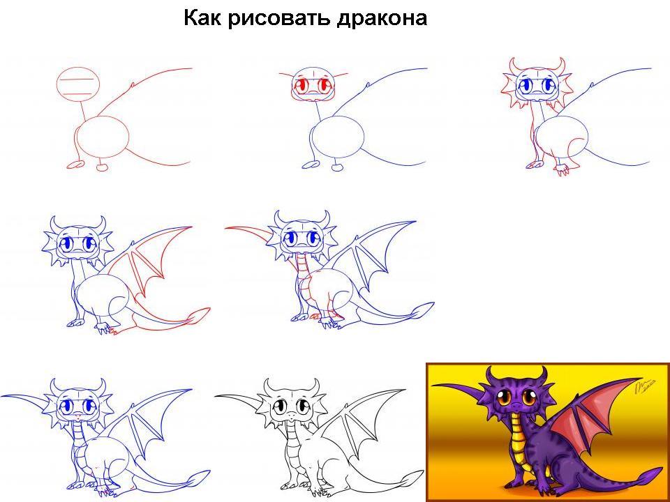 Учиться рисовать карандашом дракона поэтапно карандашом для начинающих