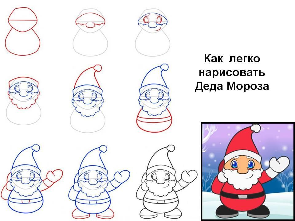 Как легко нарисовать Деда