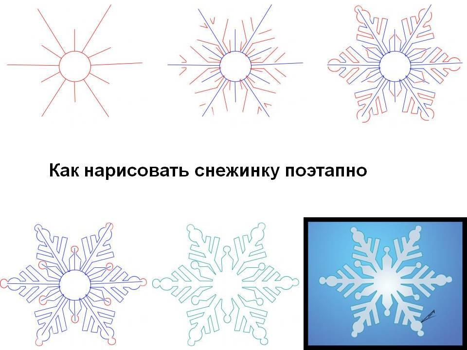 Как рисовать снежинку