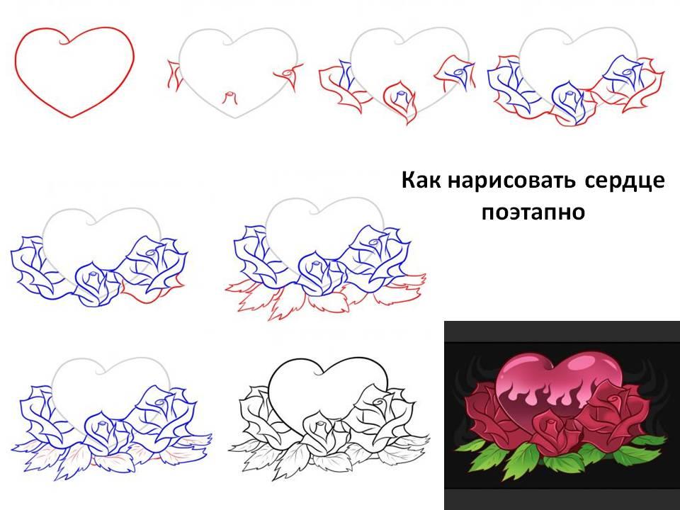 Как нарисовать сердце поэтапно