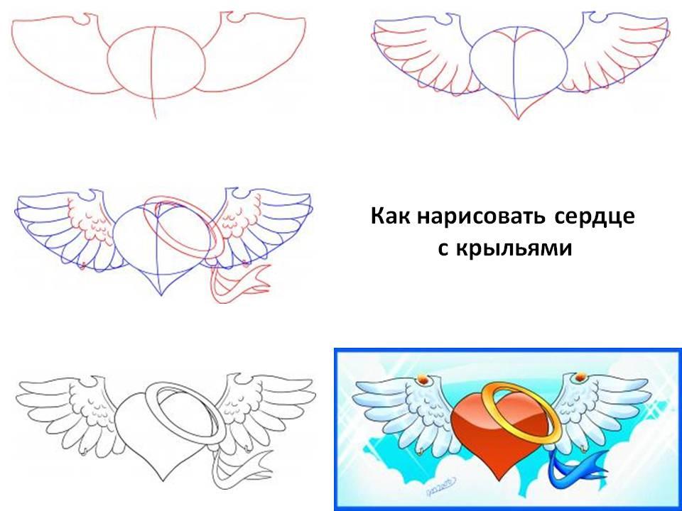 Как нарисовать сердце с крыльями