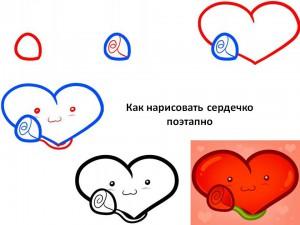 Как нарисовать сердечко поэтапно