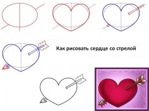 Как рисовать сердце со стрелой