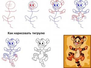 Как нарисовать тигрулю