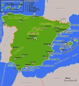 Туристическая карта Испании (увеличить)