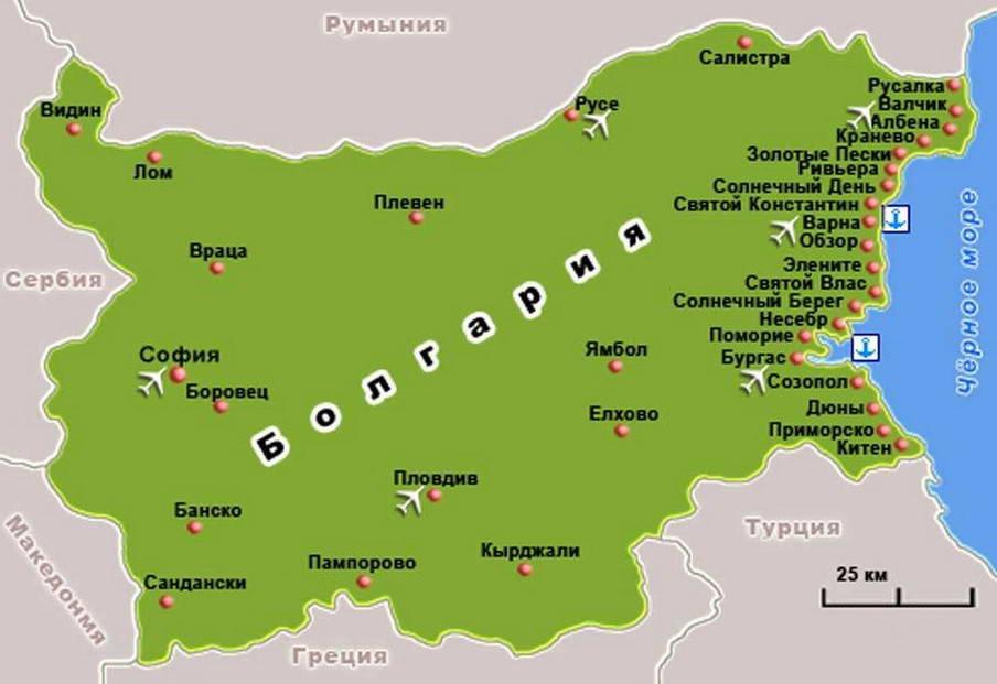 Карта курортов Болгарии (увеличить)