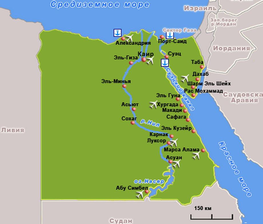 Карта курортов Египта (увеличить)