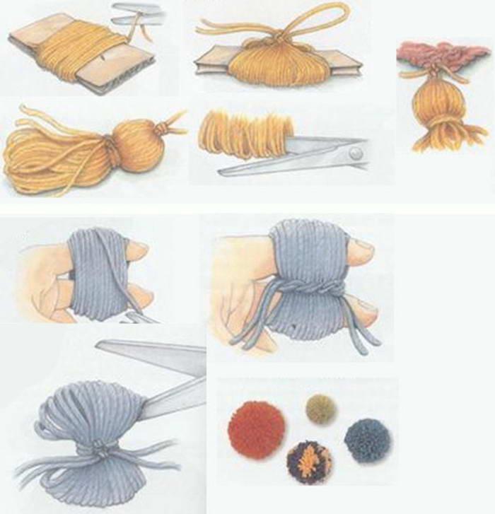 Как сделать кисточки и помпончики из