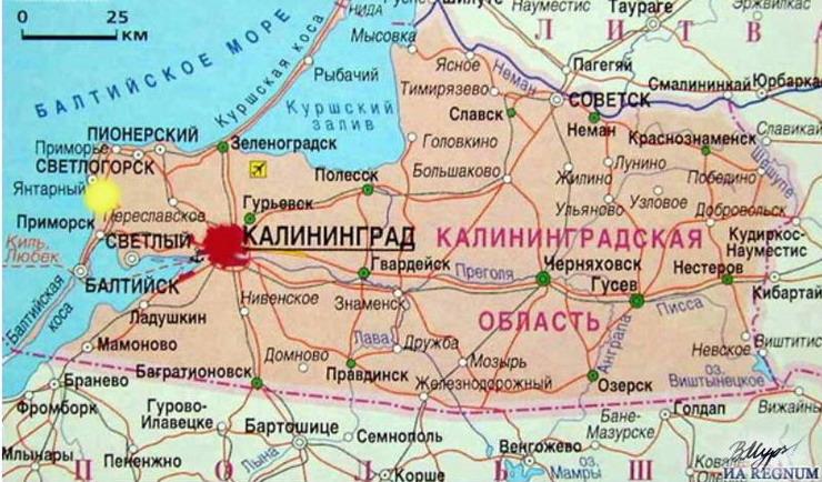 Карта курортов Калининградской области