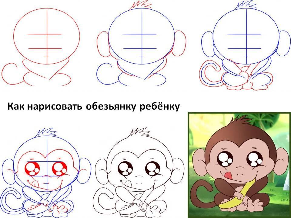 Как нарисовать обезьяну ребёнку