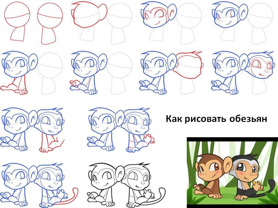 Как рисовать обезьян
