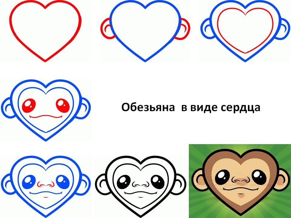 Обезьяна в виде сердца