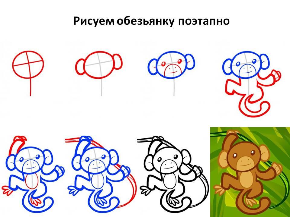 Рисуем обезьянку поэтапно