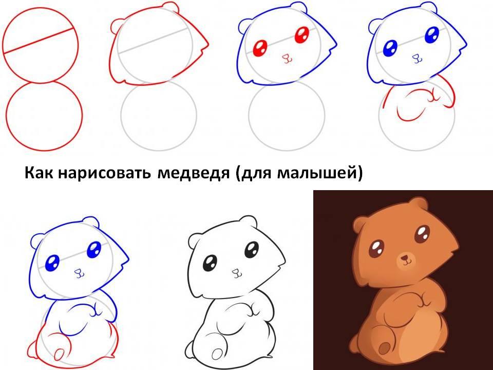 Как нарисовать медведя (для малышей)