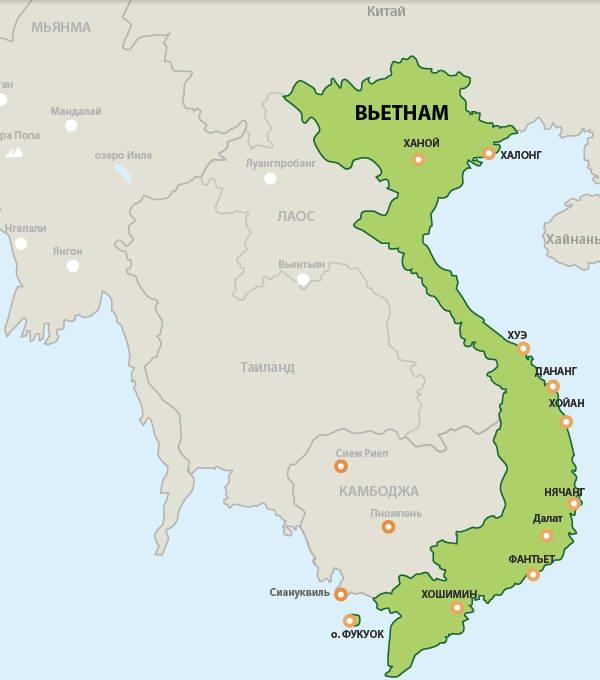 Карта Вьетнама с курортами