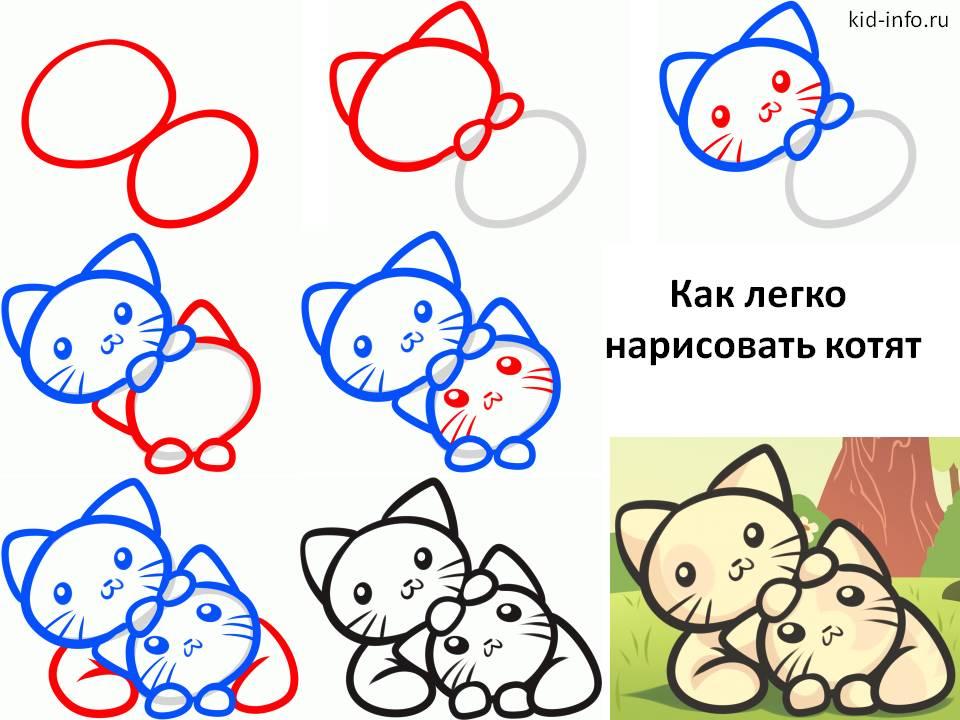 Как нарисовать Котят (вариант 2)