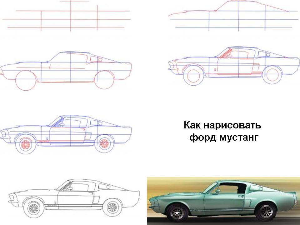 Как нарисовать Фод Мустанг