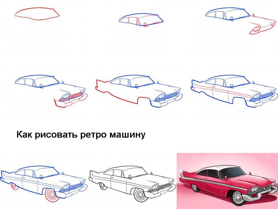 Как рисовать ретро машину