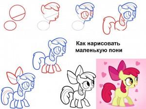 Как нарисовать маленькую пони