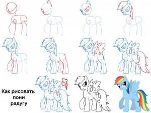 Как рисовать пони Радугу