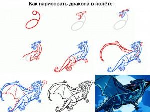 Как нарисовать дракона в полёте