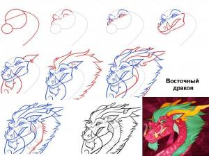 Как нарисовать восточного дракона