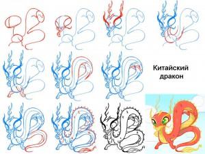 Как рисовать китайского дракона