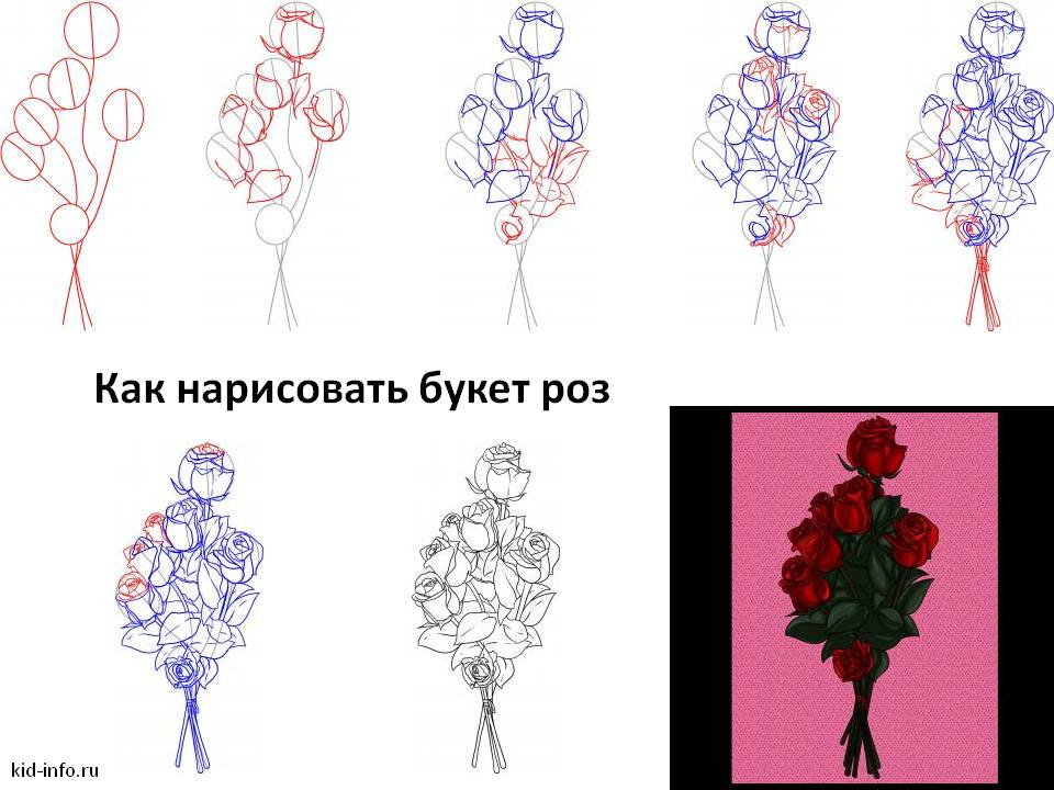 Как нарисовать букет роз