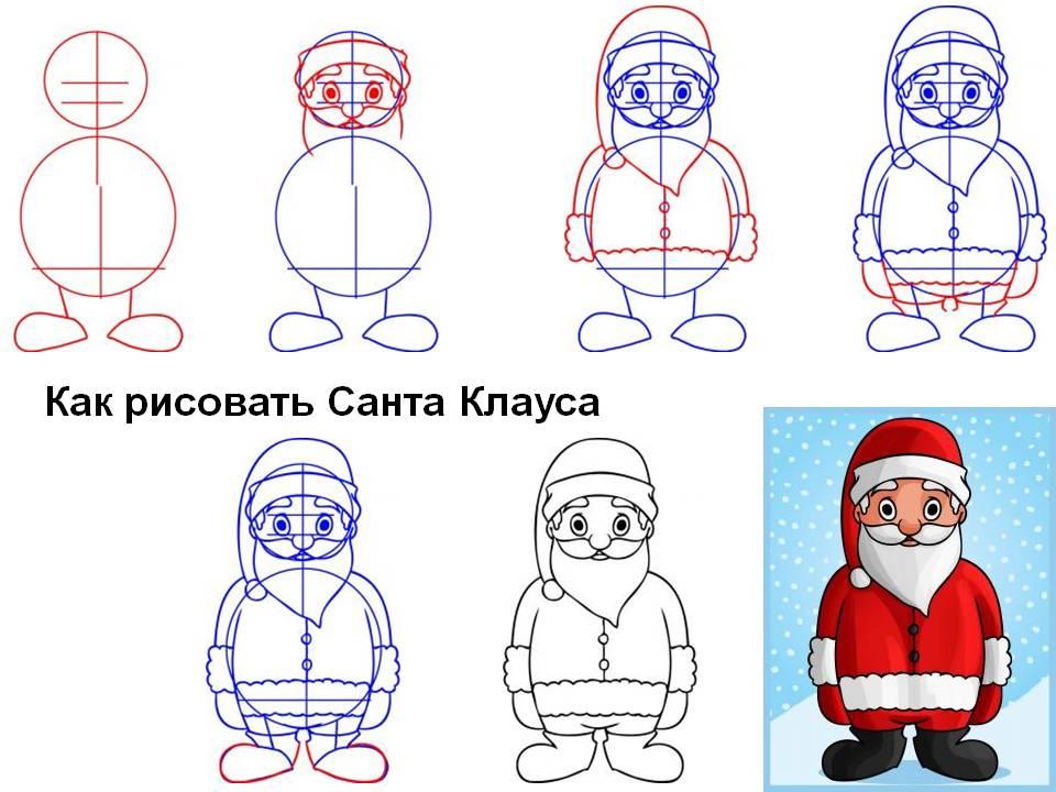 Как рисовать Санта Клауса