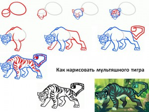 Как нарисовать мультяшного тигра