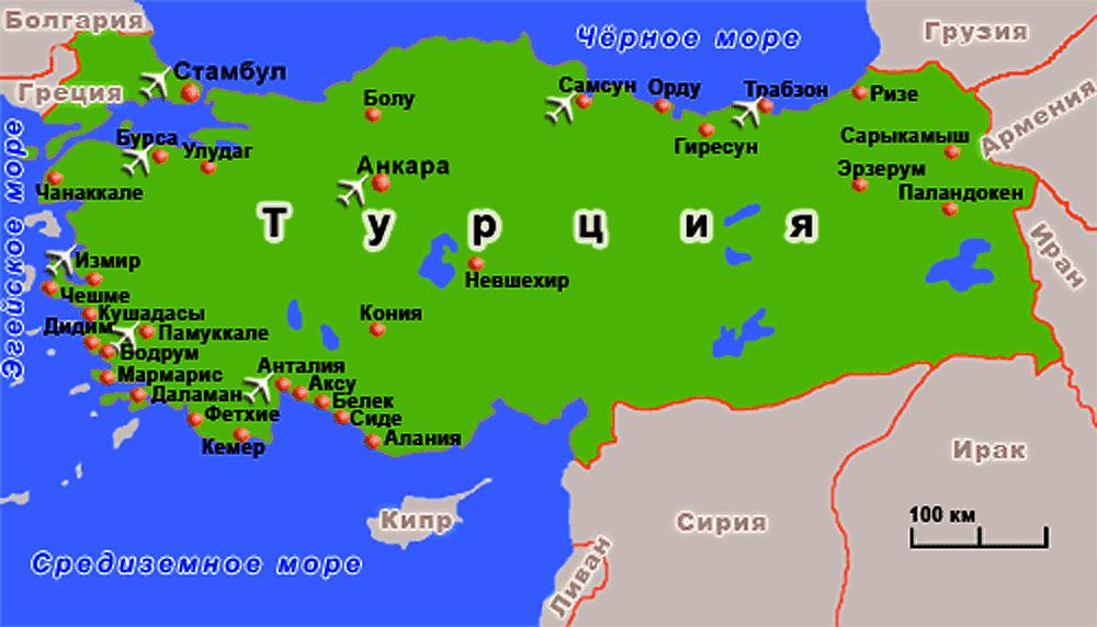 Туристическая карта Турции (увеличить)